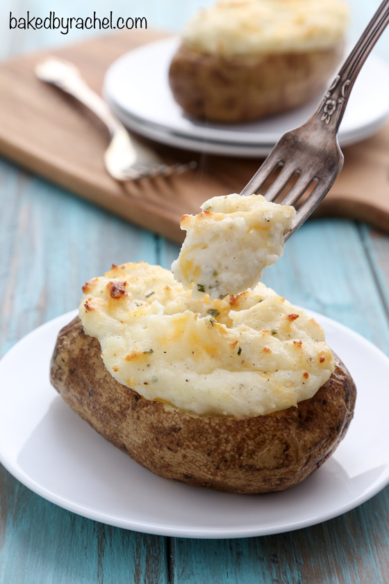 Easy twice baked potatoes with sour cream, cheddar and chives recipe from @bakedbyrachel