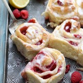 Raspberry lemon sticky buns with lemon glaze recipe from @bakedbyrachel