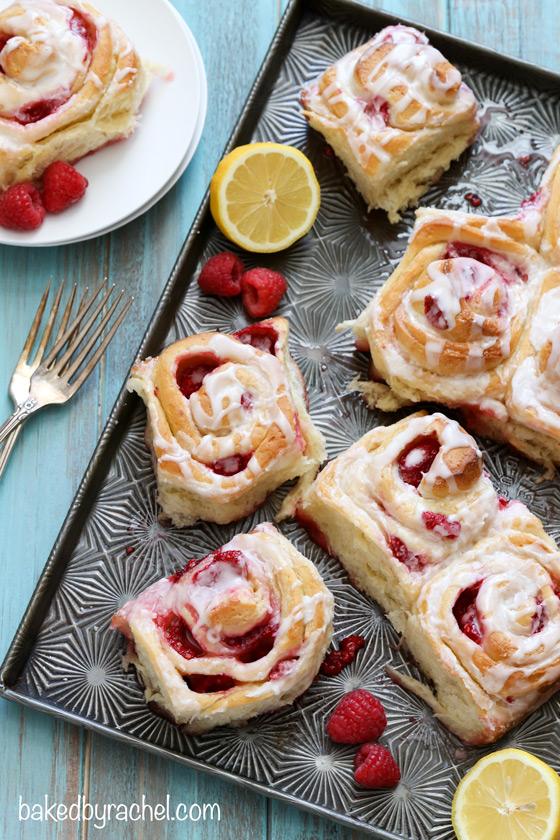 Raspberry lemon sticky buns with lemon glaze recipe from @bakedbyrachel