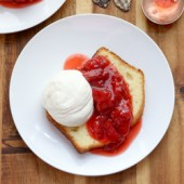 Sour cream pound cake loaf with roasted strawberries and whipped cream recipe from @bakedbyrachel
