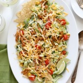 Flavorful chicken enchilada salad with creamy homemade Caesar dressing recipe from @bakedbyrachel