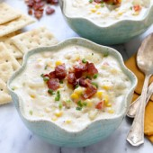 Slow cooker summer corn chowder recipe from @bakedbyrachel