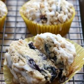Moist blueberry streusel muffins with a sweet vanilla glaze. Recipe from @bakedbyrachel