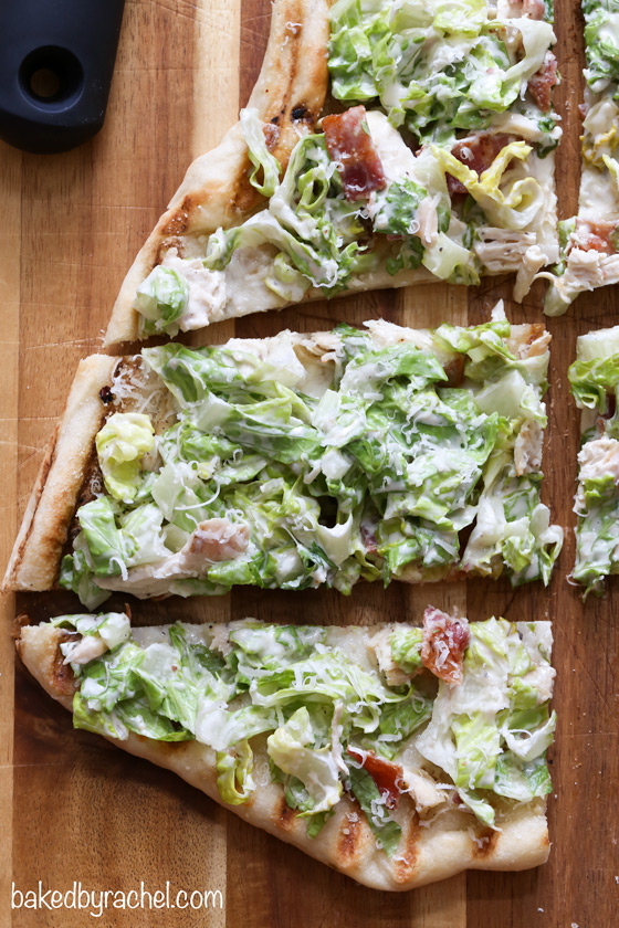 Grilled chicken Caesar pizza recipe from @bakedbyrachel