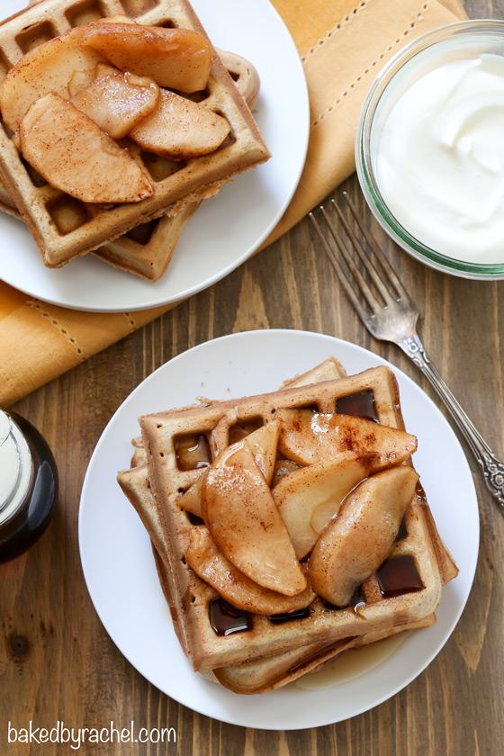 Apple pie waffle recipe from @bakedbyrachel A must make Fall breakfast!