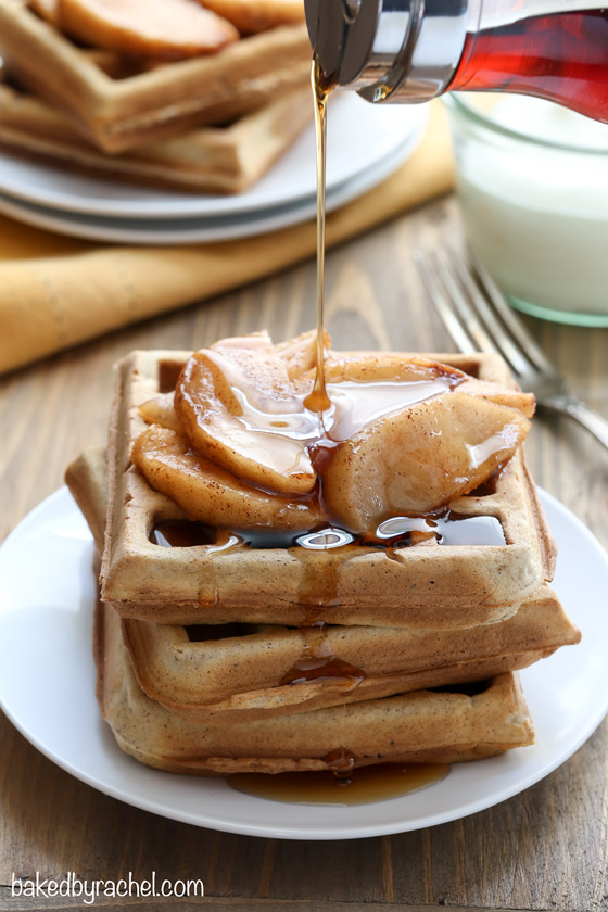 Apple pie waffle recipe from @bakedbyrachel A must make Fall breakfast!