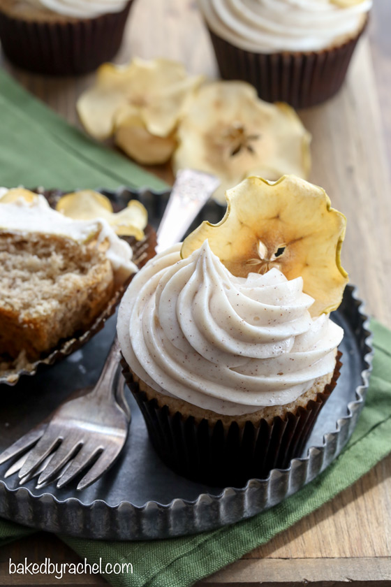 Moist spiced apple cupcakes with cinnamon cream cheese frosting  recipe from @bakedbyrachel