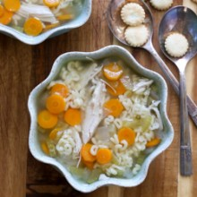 Easy slow cooker alphabet soup with chicken and vegetables. Recipe from @bakedbyrachel