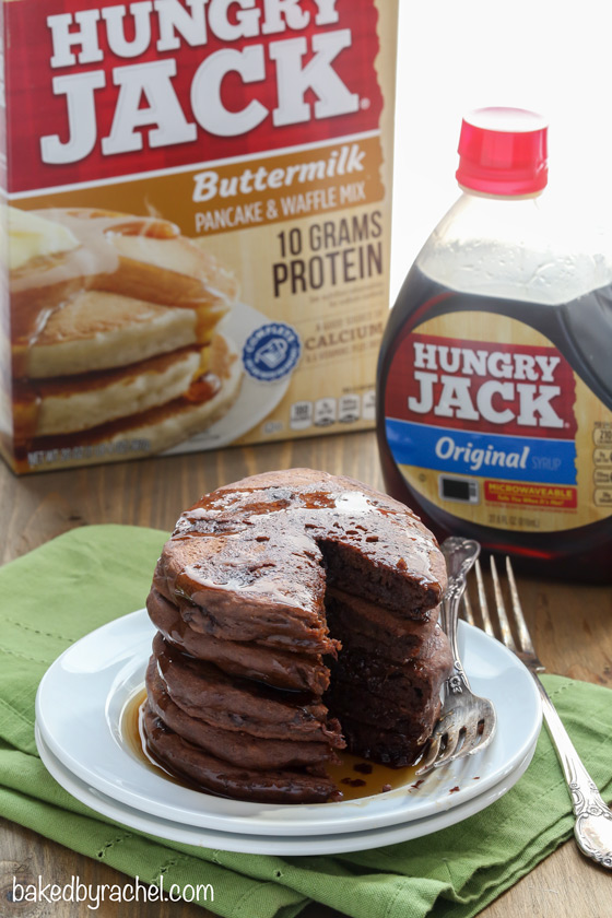 Easy double chocolate pancake recipe from @bakedbyrachel