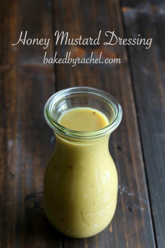 Easy homemade honey mustard dressing recipe from @bakedbyrachel