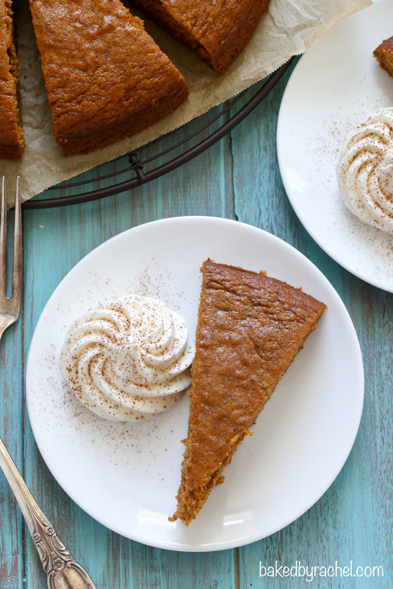 Moist pumpkin snack cake with homemade whipped cream. Recipe from @ ...