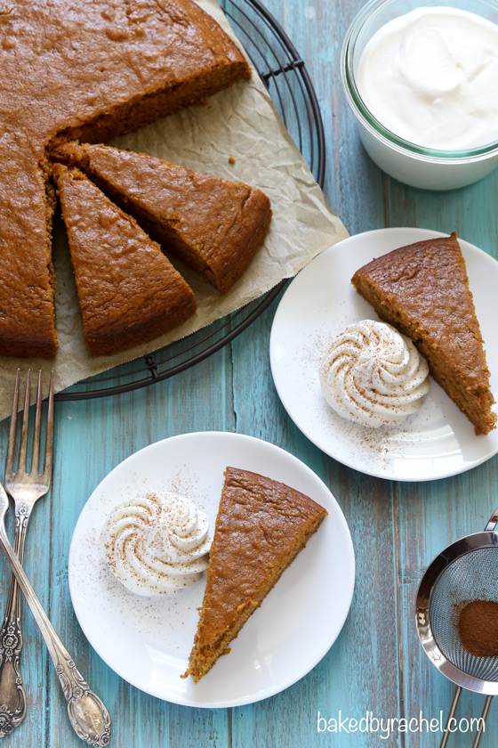 Moist pumpkin snack cake with homemade whipped cream. Recipe from @bakedbyrachel