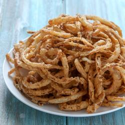Crispy Fried Onion Strings | Baked by Rachel