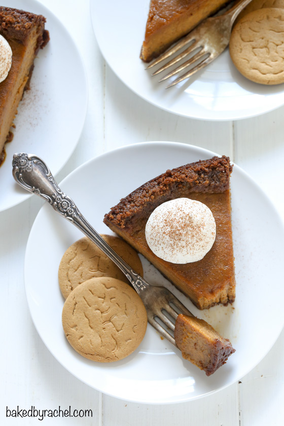 Deep dish pumpkin pie with gingersnap crust recipe from @bakedbyrachel