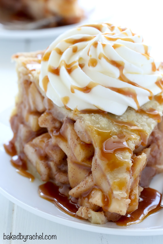 Flaky homemade double crust apple pie recipe from @bakedbyrachel