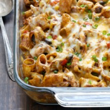 Chicken enchilada pasta bake recipe from @bakedbyrachel Your favorite enchiladas reinvented into an easy pasta dinner!