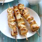 Quick and flavorful maple Dijon chicken kabob recipe from @bakedbyrachel