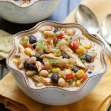 Slow cooker leftover Thanksgiving turkey and three bean chili recipe from @bakedbyrachel A fun way to use up holiday leftovers!