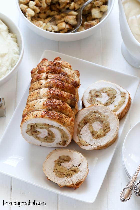 Easy turkey roulade with bread stuffing recipe from @bakedbyrachel A fun alternative for your holiday meal!