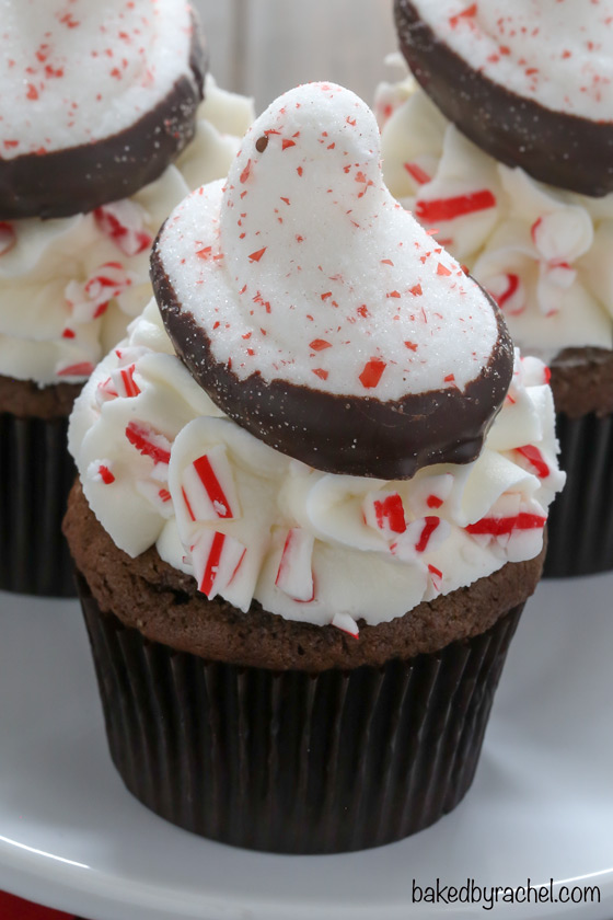 PEEPS® chocolate peppermint cupcakes recipe from @bakedbyrachel. A fun holiday dessert!