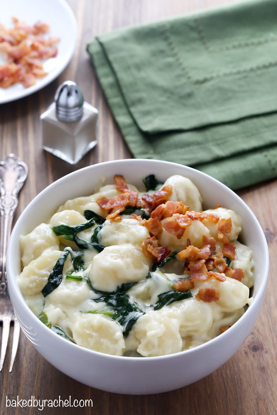 Gnocchi and spinach in parmesan cream sauce recipe from @bakedbyrachel