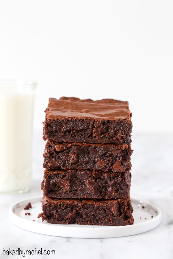 Super fudgy homemade one-bowl triple chocolate brownie recipe from @bakedbyrachel