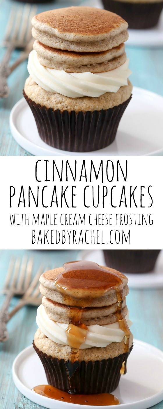 Maple Cream Cheese Frosting cinnamon pancake cupcakes | bakedrachel