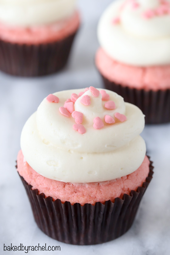 Pink velvet cupcakes with cream cheese frosting recipe from @bakedbyrachel