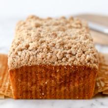 Moist applesauce carrot cake loaf with streusel topping recipe from @bakedbyrachel