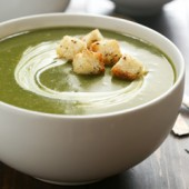 Easy creamy slow cooker broccoli, spinach and potato soup recipe from @bakedbyrachel