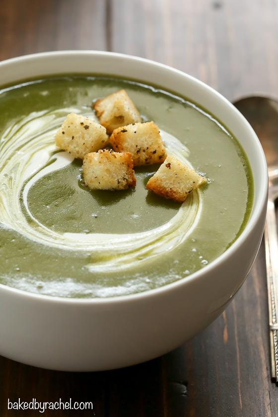 Easy creamy slow cooker broccoli, spinach and potato soup recipe from @bakedbyrachel