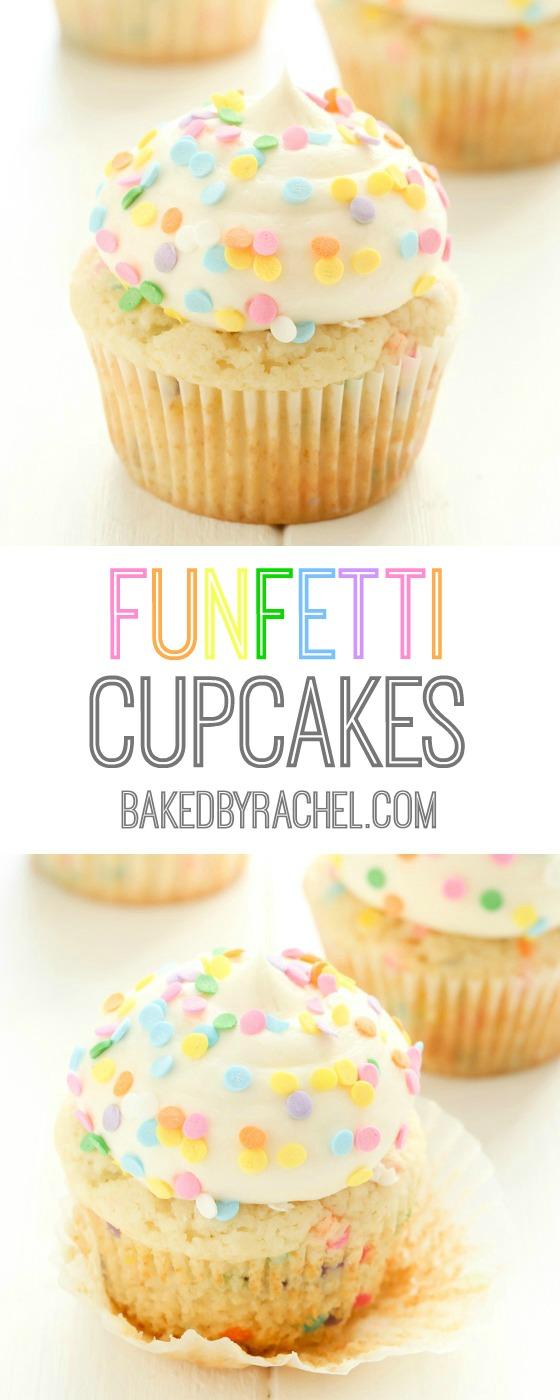 Moist homemade vanilla funfetti cupcakes with creamy vanilla buttercream frosting recipe from @bakedbyrachel
