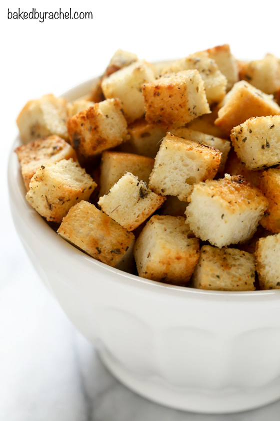 Homemade Garlic and Herb Croutons | Baked by Rachel