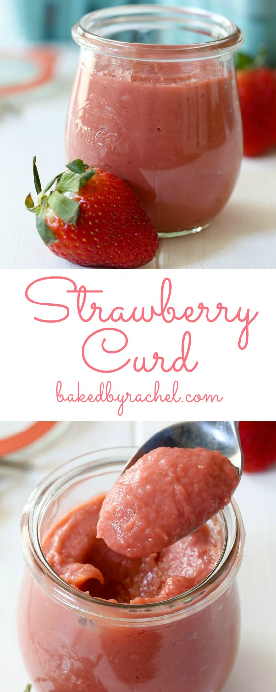 Easy homemade strawberry curd, ready in under 15 minutes! Recipe from @bakedbyrachel