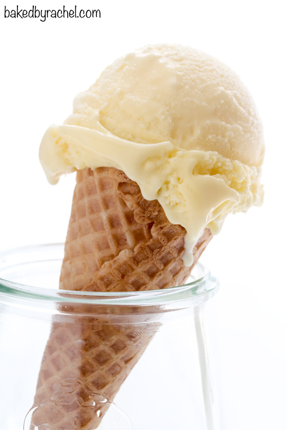 Creamy homemade lemon curd ice cream recipe from @bakedbyrachel