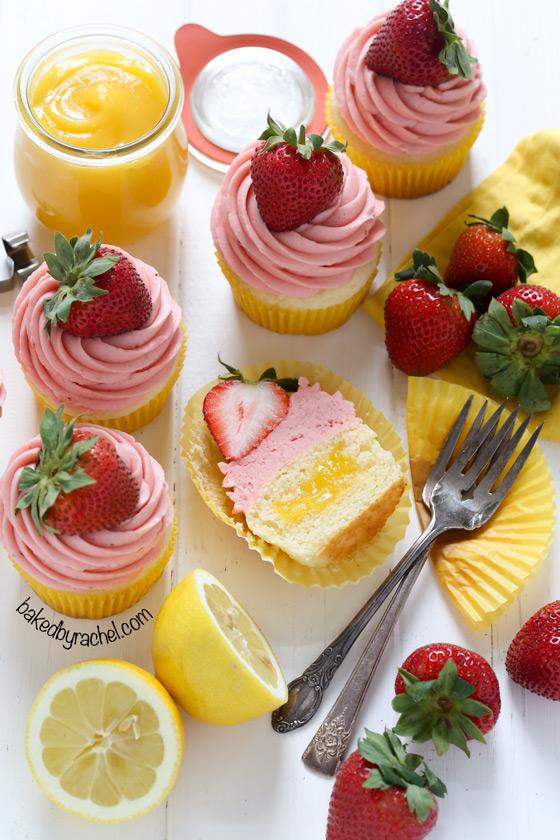 Moist strawberry lemonade cupcakes with lemon curd filling. Recipe from @bakedbyrachel