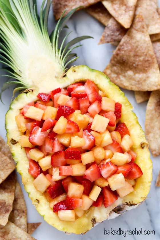 strawberry fruit salsa with cinnamon tortilla chips