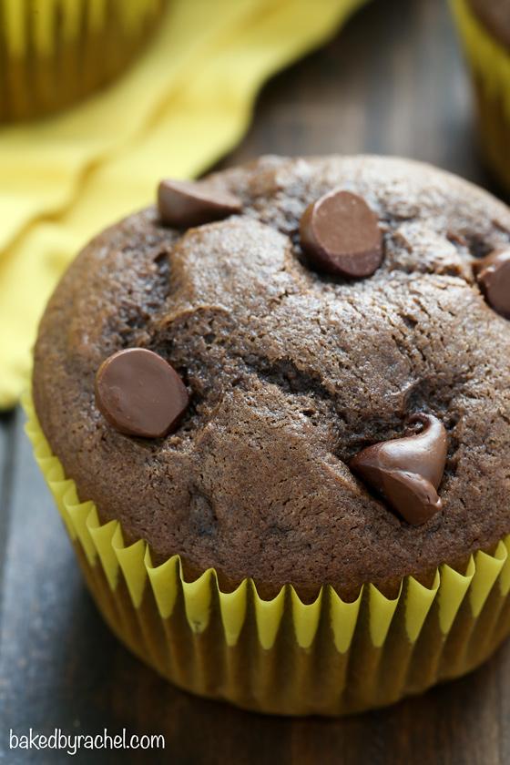 Easy homemade moist double chocolate banana muffin recipe from @bakedbyrachel