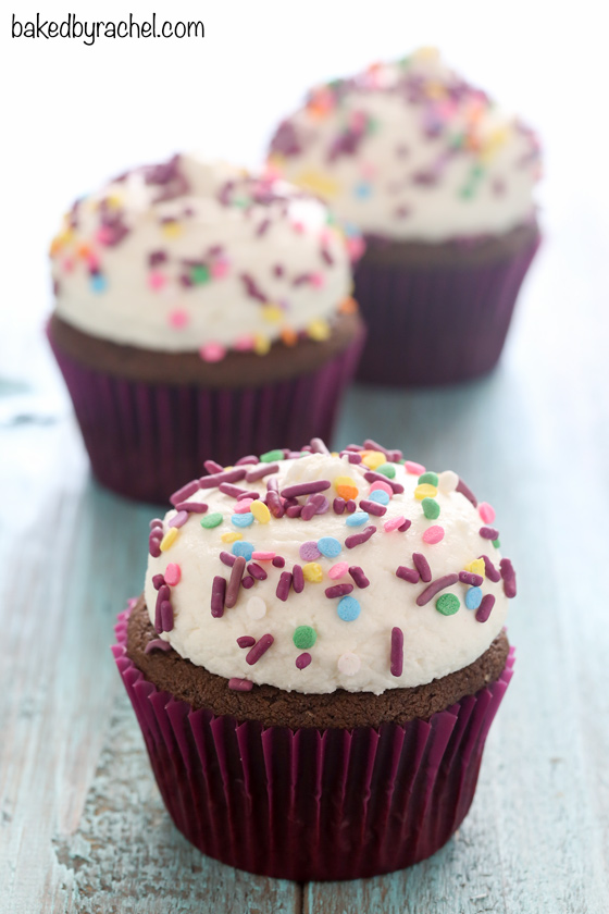 Moist homemade chocolate cupcakes with vanilla buttercream frosting recipe from @bakedbyrachel