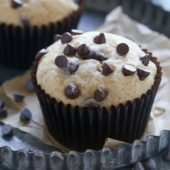 Moist homemade banana chocolate chip muffin recipe from @bakedbyrachel