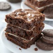 Girl Scout cookie flavored thin mint brownies at bakedbyrachel.com