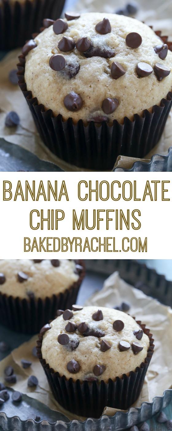 Moist homemade banana chocolate chip muffin recipe from @bakedbyrachel