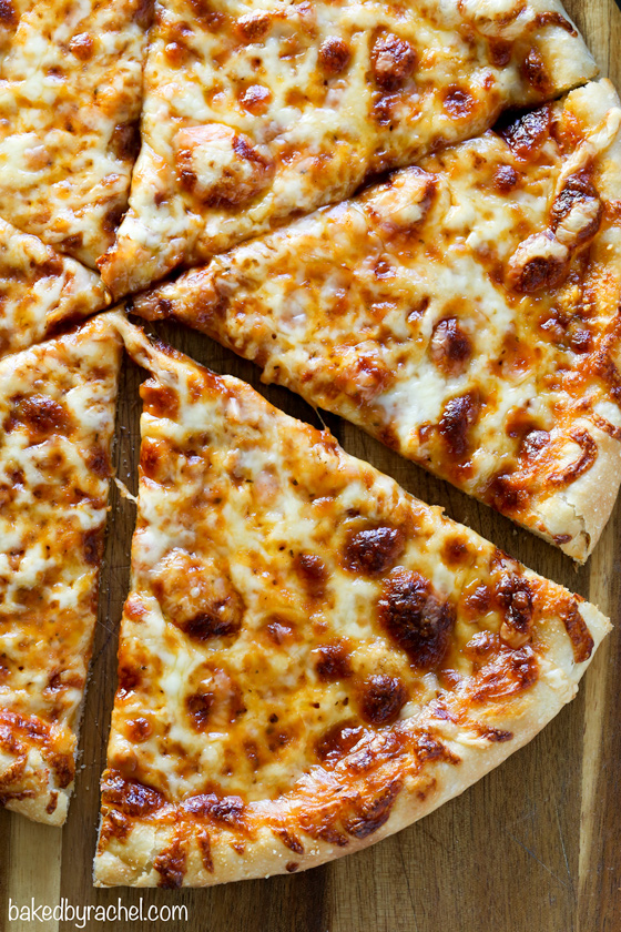 Easy homemade classic three cheese pizza recipe from @bakedbyrachel