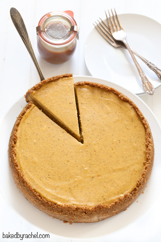 Creamy spiced pumpkin cheesecake with homemade caramel sauce topping ...