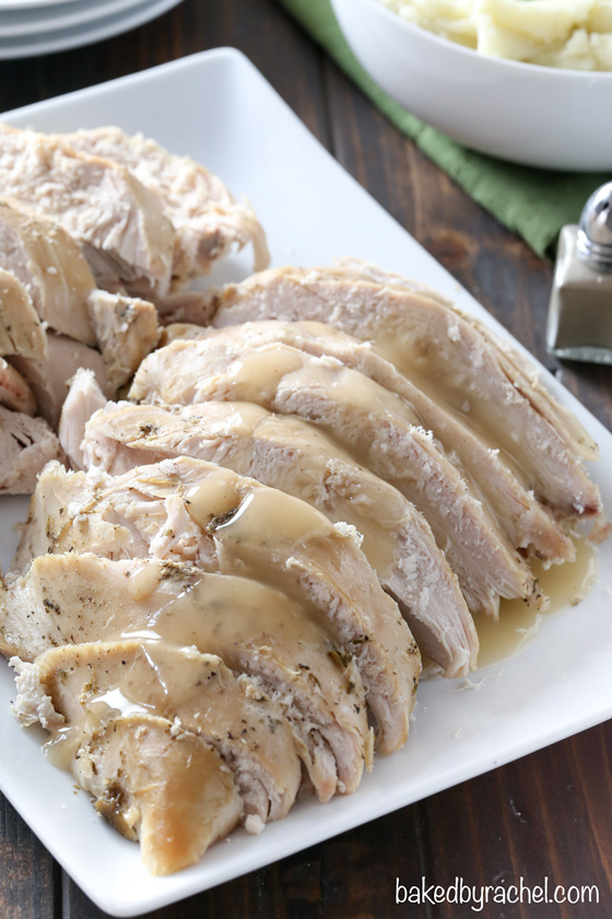 Moist slow cooker turkey breast recipe from @bakedbyrachel