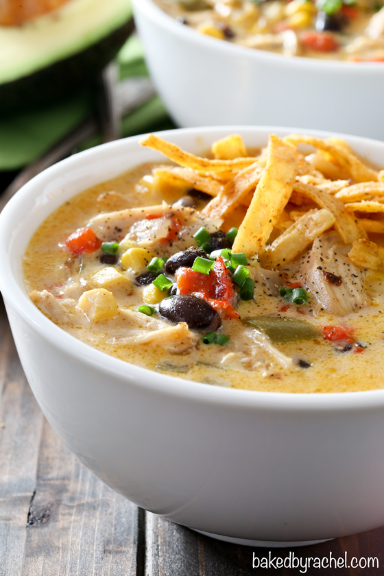 Cheesy slow cooker chicken fajita soup recipe from @bakedbyrachel