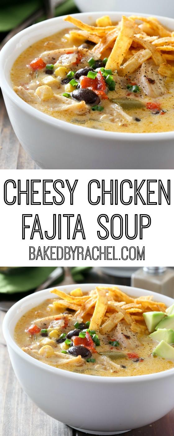 Cheesy Slow Cooker Chicken Fajita Soup | Baked by Rachel