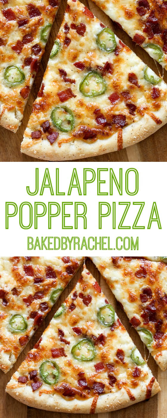Thin crust jalapeño popper pizza recipe from @bakedbyrachel