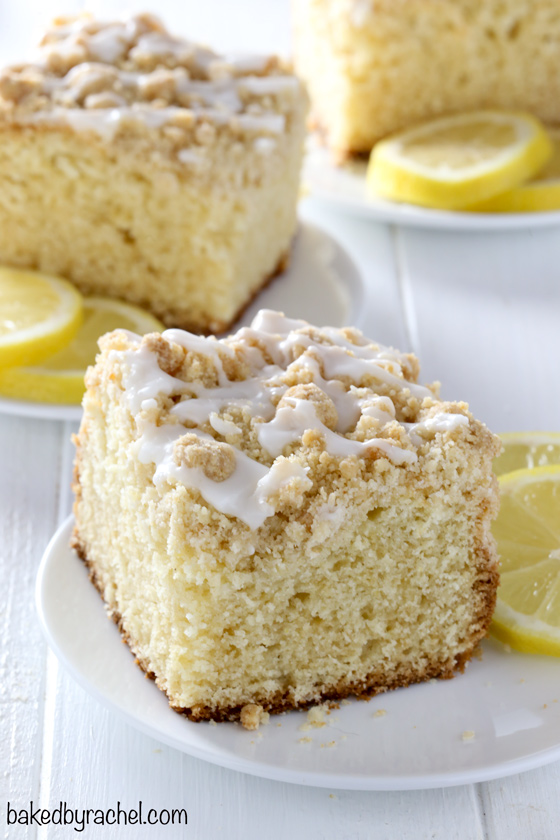 Moist lemon crumb coffee cake with sweet lemon glaze recipe from @bakedbryachel