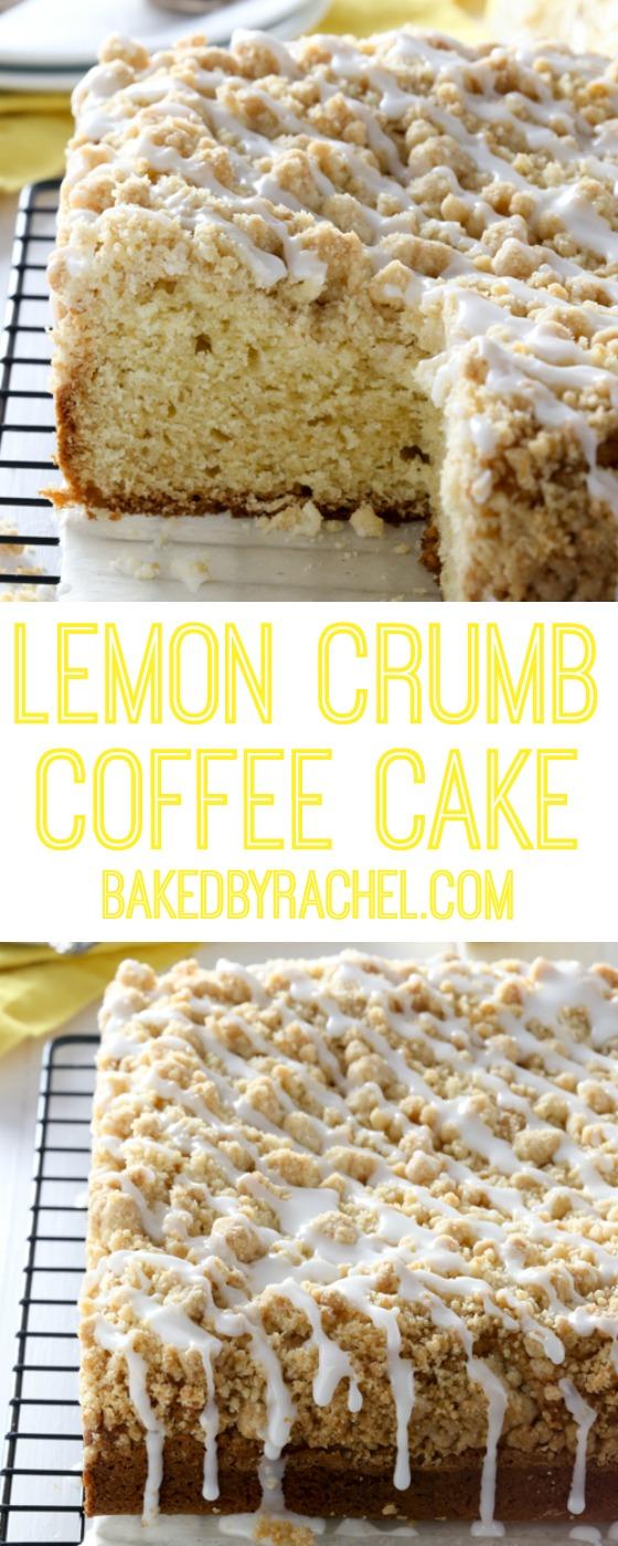 Moist lemon crumb coffee cake with sweet lemon glaze recipe from @bakedbryachel